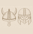 horned viking helmets hand drawn sketch on beige vector image
