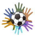 isolated soccer ball on color hands vector image vector image