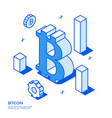 isometric bitcoin investment and growth line style vector image
