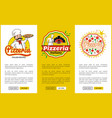 italian pizzeria promotional vertical posters set vector image vector image