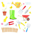 Lovely collection of colorful gardening tools vector image