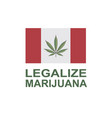 marijuana leaf on canada flag vector image vector image