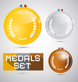 Medals Set - Gold Silver Bronze First Second Third vector image vector image