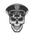 military officer skull in black hat vector image vector image