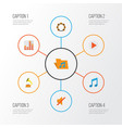 music flat icons set collection of tone button vector image