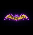 neon halloween bat sign bright halloween vector image vector image