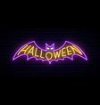 neon halloween sign bright halloween vector image vector image