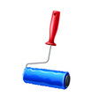 realistic paint roller blue liquid paint vector image