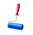 realistic paint roller blue liquid paint vector image vector image