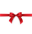 red bow and ribbon on white background realistic vector image vector image
