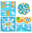 set four pictures with boats and yachts vector image vector image