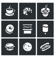 set street fast food icons coffee vector image vector image