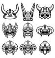set viking helmets design element for logo vector image vector image