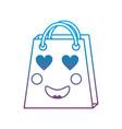 shopping bag heart eyes emoji icon imag vector image