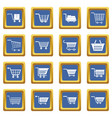 shopping cart icons set blue vector image vector image