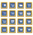 shopping cart icons set blue vector image