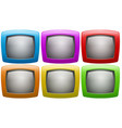 Six television screen in colors vector image vector image