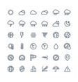 thin line icons set with weather and meteo vector image vector image