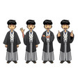 traditional japan man character set vector image