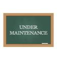 Under maintenance message on chalkboard vector image