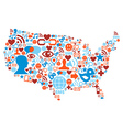 USA map with social media network icons vector image vector image