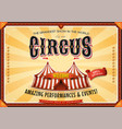 vintage grand circus poster with marquee vector image vector image