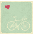 Vintage Valentines Card with Bicycle and Heart Bal vector image vector image