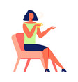 woman with cup tea sits on chair white background vector image vector image