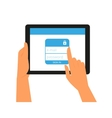 Logging into the account on tablet pc vector image