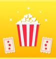 popcorn box two tickets with stars movie cinema vector image
