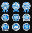 set of excellent quality blue badges with silver vector image
