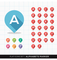 Set of A-Z Alphabet Pin Marker Flat Icons Map GPS vector image