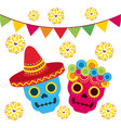 day of the dead two skull with floral garland vector image