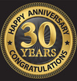30 years happy anniversary congratulations gold vector image