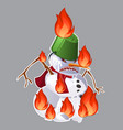 angry aggressive toothy snowman is burning in the vector image