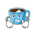 angry tea cup mascot cartoon vector image