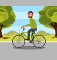 bearded man riding bike in the park healthy and vector image