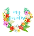 Beautiful floral jungle frame wreath vector image vector image