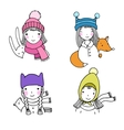 Beautiful girls in hats Hare a bird and a fox vector image vector image