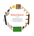 billiard game equipment banner card circle vector image vector image
