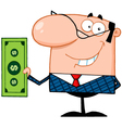 Business Manager Holding A Dollar Bill vector image vector image