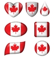 Canada flag in various shape glossy button vector image vector image