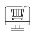 cart on computer screen line icon shopping online vector image