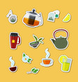 cartoon tea kettles and cups stickers set vector image