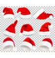 collection red santa hats on transparent vector image