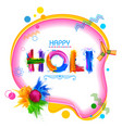 colorful happy holi background for color festival vector image vector image