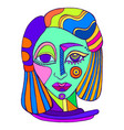 colorful surreal decorative abstract girl face vector image