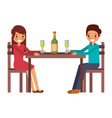 couple parents sitting with vwine bottle glass vector image