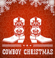 Cowboy red christmas card with text and snowflakes vector image vector image