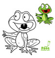 cute cartoon frog color and outlined on a white vector image vector image